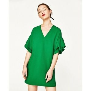 Zara Womens Ruffle Sleeve V-Neck Green Dress S